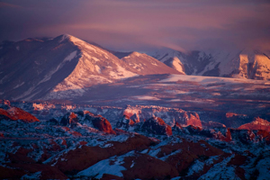 Alpenglow on La Sal Mountains as seen from Arches National Park, Utah