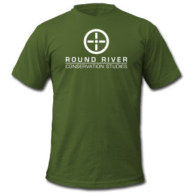 Men's olive colored round river t-shirt